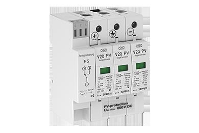 V20 -C 3-PH600 DC Type II voor PV systemen tot 600V met meldcontact